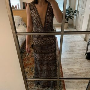BCBG EMBROIDERED GOWN